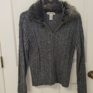 SWEATER PROJECT ZIP CARDIGAN WITH FAUX FUR TRIM XL